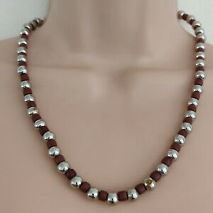 BROWN & SILVER BEAD NECKLACE Acrylic bead 26cm
