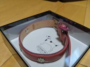 COACH pet supplies leather dog collar S size 11-13 pink color shipping from JPN!