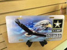 U.S. ARMY RETIRED Novelty Vanity License Plate, USA Made (New)