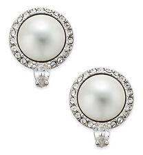 Eliot Danori by Nadri Alhambra Clear Pave CZ Faux Pearl Stud Earrings