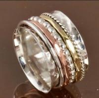 Solid 925 Sterling Silver Spinner Ring Meditation Ring Statement Ring Size sr211