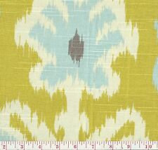 Home Accent Caftan Citron Green Blue Ikat Print Home Decor Fabric BTY