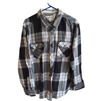 Roebuck & Co Men's Size XXL Plaid Flannel Button Up Black White Grey Blue