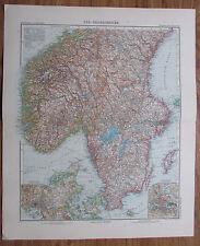 Süd-Skandinavien - alte Landkarte aus 1906 Stielers Handatlas old map