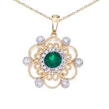 "14k Two-Tone Emerald and Diamond Filigree Pendant with 18"" Chain"