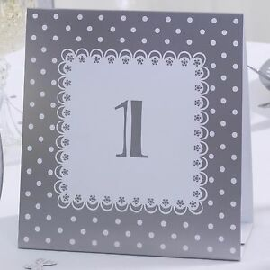Wedding Table Number - 1 - 12 - Silver And White Design