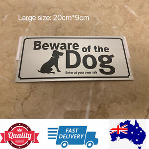 Large Metal Sign Beware Of The Dog Enter at your own risk, Sticky Back, AU Stock