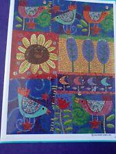 Vintage Hallmark Stickers Mosaic Folk Art Birds Sunflower Stars Flower Sheet