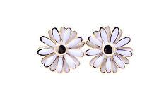 Gold and white coloured enamel daisy stud earrings, 50s, 60s 70s retro