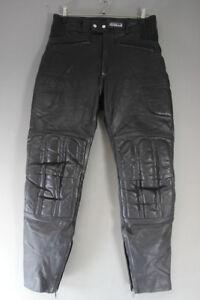 ASHMAN BLACK COWHIDE LEATHER BIKER TROUSERS - WAIST 30 INCH/INSIDE LEG 30 INCH
