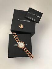 KAREN MILLEN Ladies Watch Chain Bracelet Rose Gold RRP £189 NEW!!