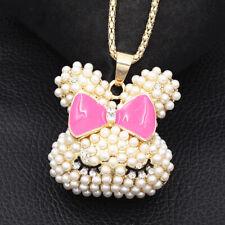 Betsey Johnson Hot Pink Enamel Pearl Cute Rabbit Bunny Pendant Long Necklace