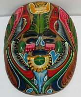Vintage Mexican Hand Painted Clay Pottery Mask, Folk Art Wall Hanging