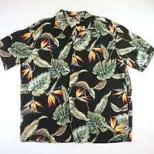 VTG Mens KALAHEO Hawaiian Button Shirt Palm Hibiscus Black Floral Sz Large USA