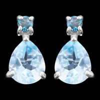 100% NATURAL 10X8MM SKY BLUE TOPAZ & LONDON BLUE TOPAZ RARE SILVER 925 EARRING