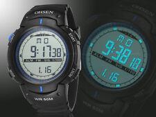 Ohsen Mens Military Date Water Proof Digital Light Blue Sport Quartz Wrist Watch