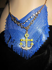 BETSEY JOHNSON SHIP SHAPE BLUE MESH WITH ANCHOR NECKLACE