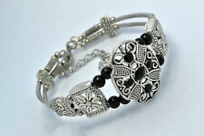 Tibetan Silver Bracelet Jewelry Handmade Crafts Bangle Black Beads Bangle