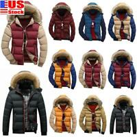 Men Winter Fur Collar Hooded Thicken Padded Jacket Zip Puffer Warm Outwear Coat