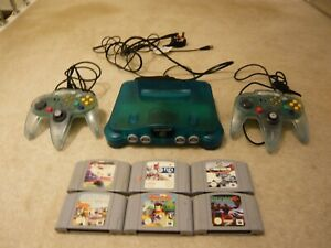 FUNTASTIC BLUE N64 CONSOLE WITH 6 GAMES BUNDLE , NINTENDO 64 , PAL 2 CONTROLLERS