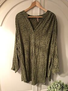Hm Plus Tunic Lagenlook Style Khaki Animal Print Size 2xl Size 24/26