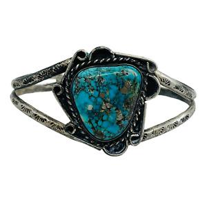 Vintage Sterling Silver Turquoise Southwest Stamped Pattern Cuff Bracelet