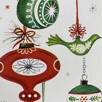 Vintage Mid Century Christmas Greeting Card Teardrop Ornaments Partridge Ribbons