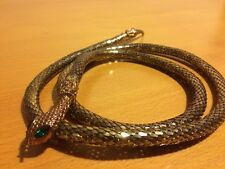 Vintage Gold Mesh Belt Snake With Emerald Green Eyes From Neiman Marcus