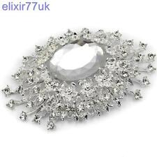 "3.4"" SILVER FLOWER BROOCH DIAMANTE RHINESTONE LARGE CRYSTAL BROACH WEDDING PARTY"