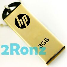 HP v225w 8GB 8G USB Flash Drive Memory Disk Capless Thumb Mirror Metal Gold