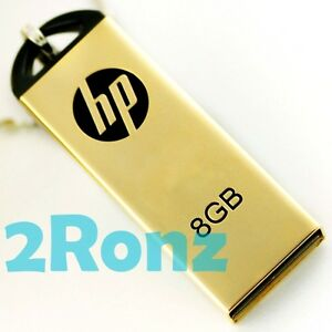 HP v225w 8GB 8G USB Flash Drive Memory Disk Capless Thumb Mirror Metal Gold