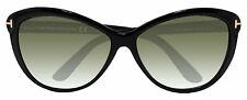 Tom Ford FT0325 Telma  Cat Eye Black Green 60mm Sunglasses TF325 01P New