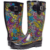 SheSole Womens Printed Waterproof Buckle Gumboots Rain Wellington Boots AU 10