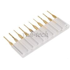 "10pcs Shank 1/8"" 0.6mm-1.5mm Cutting CNC End Mill Bit Tool Titanium Coating"