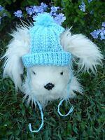 100% wool handmade knit Blue dog hat Size S