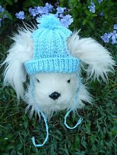 100% wool handmade knit Blue dog hat Size S