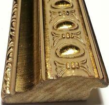20 ft - Ornate Gold Picture Frame Moulding, Oval Medallion, Gold Wood, Lengths