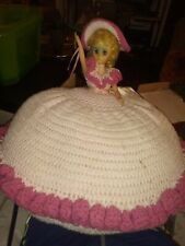 """Vintage Doll Bed Pillow with music. """"Southern Belle"""" Blue Eyes And Pink Dress"""