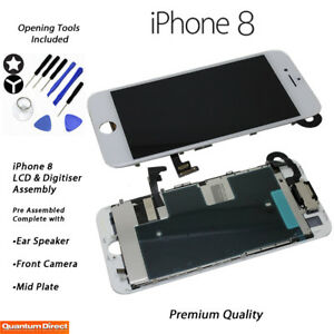 NEW iPhone 8 Retina LCD & Digitiser Touch Screen Full Assembly with Parts WHITE
