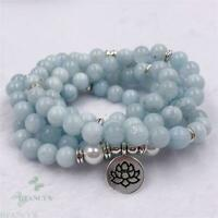 8mm Blue Chalcedony 108 Beads Lotus Necklace Bracelet Cuff Colorful Handmade