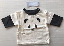 NWT Gymboree Snow Panda 0-3 Months Ivory Panda Bear Face Double Sleeve Tee