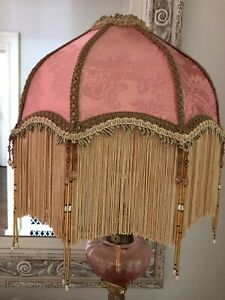 Traditional Downton Abbey Victorian Pink100% Silk Fringe Beaded Lampshade 15 INS