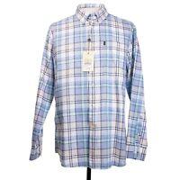 NWT Barbour Tailored Fit Mens XL Aqua Blue Plaid LS Button Front Shirt