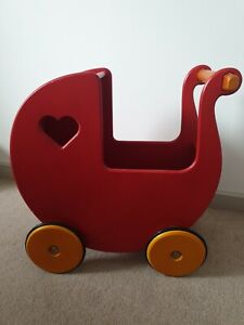 Moover Doll's Wooden Pram in Red