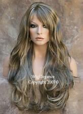Ash Blonde Mix Wig Long Layered Wavy  Off center skin part with Bangs HSJO 18-22