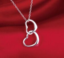 "925 Sterling Silver Double Heart Interlocking Pendant Necklace Couple 18""  N61"