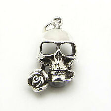 Tango Sterling Silver Gothic Spooky Skull with a Rose in his Teeth Charm Pendant