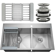 """33"""" x 22"""" x 9"""" Handmade Stainless Steel Top Mount Kitchen Sink Dual Basin & Tray"""