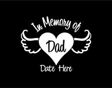In Memory of Dad Heart and Angel Wings Custom Vinyl Window Decal Sticker