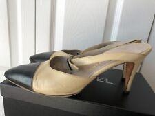 CHANEL Iconic Cap Toe Slides Heels Beige & Black Beautiful 39.5 9.5